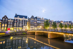 Houses and canal in Amsterdam, The Netherlands Stock Image