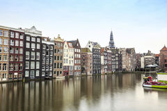 Houses and canal in Amsterdam, The Netherlands Royalty Free Stock Images