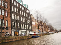 Houses on the canal in Amsterdam . Netherlands Stock Image