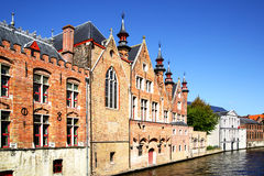 Houses on canal in Bruges Royalty Free Stock Images