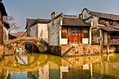 Houses on Canal in China. Houses along with Canal at Wu Zhen in China Royalty Free Stock Photography