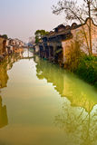 Houses on Canal in China. With water reflection Stock Photography