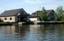 Houses at canal - Friesland Stock Image