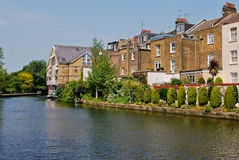 Houses at canal in London Royalty Free Stock Image