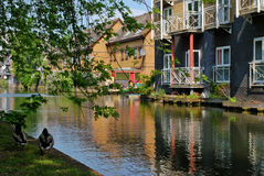 Houses at canal in London Stock Photo