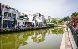 Houses with canal in Maleka, Malaysia Stock Image