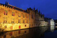 Houses and canals in Bruges. At night. Bruges, Flemish Region, Belgium Stock Image