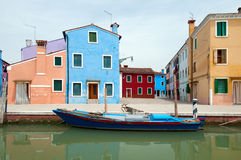 Houses and canals of Burano Stock Images