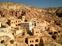 Houses in Cappadocia. Scenic view of cave houses in Cappadocia royalty free stock photo