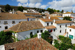 The houses within castle walls, Obidos, Portugal Royalty Free Stock Photos