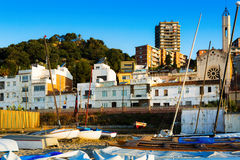 Houses of  Catalan town at sea coast. Montgat Royalty Free Stock Photography