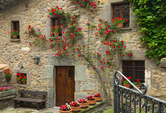 Houses in  catalan village.  Rupit i Pruit Stock Photo