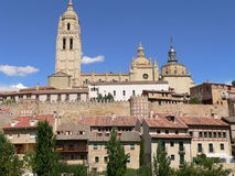 Houses and cathedral, Segovia ( Spain ). View of cathedral, wall and houses in Segovia Royalty Free Stock Photography