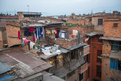 Houses in the Central district of Bhaktapur. Royalty Free Stock Photography