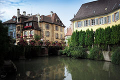 Houses on channel in Colmar royalty free stock photography