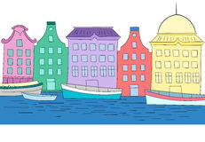 Houses on channel vector color illustration Royalty Free Stock Photos