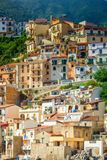 Houses of Chianalea di Scilla. Dense houses on a hill in Calabrian town Chianalea  di Scilla on the south of Italy royalty free stock images