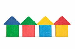 Houses from child bricks Stock Images