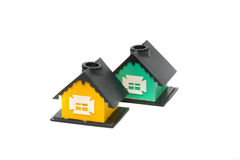 Houses for children's games. Two toy house on a white background Royalty Free Stock Images