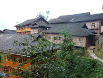 Houses in China. Wooden houses in Chinese countryside stock photography