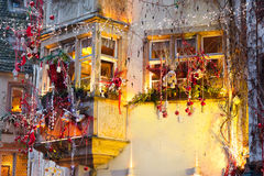 Houses with christmas decoration at night Stock Photography