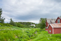 Houses and church near a forest Stock Photography