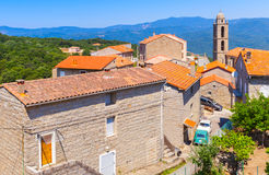 Houses and church. Petreto-Bicchisano, Corsica Royalty Free Stock Image
