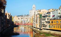 Houses and church on river Onyar  in Gerona. Stock Images