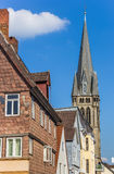 Houses and church tower in the center of Detmold Stock Photos