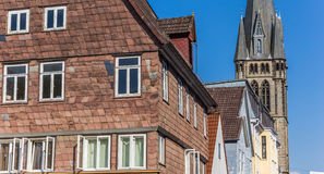 Houses and church tower in the center of Detmold Stock Images