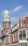 Houses and church tower in the center of Winschoten Stock Photos
