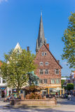 Houses and church tower at the market square of Detmold. Germany royalty free stock images
