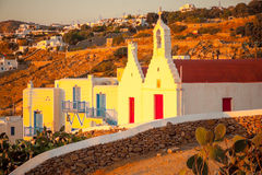 Houses and churches in Mykonos Royalty Free Stock Images