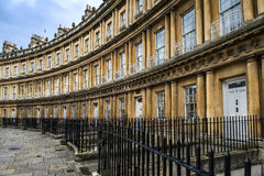 Houses Circus in Bath, Somerset, England. The Circus, landmark architectural example of a georgian architecture, by architect John Wood, the Elder in Bath Royalty Free Stock Photography