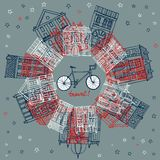 Houses and city bicycle postcard. Vector illustration with old houses and city bicycle Stock Photos