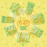 Houses and city bicycle postcard. Vector illustration with old houses and city bicycle with spring flowers Royalty Free Stock Photography