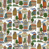 Houses in the city pattern Royalty Free Stock Images