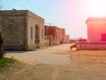 Houses on a city street Sicilian island Favignana Royalty Free Stock Photos