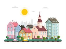 Houses in City. Vector Flat Design Architecture Buildings. In Town. Sunny Day - Urban Landscape Cartoon royalty free illustration