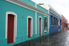 Houses in Ciudad Bolivar. Old colorful houses in a street of Ciudad Bolivar, Venezuela Royalty Free Stock Image
