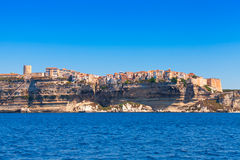 Houses on the cliff. Bonifacio, Corsica, France Royalty Free Stock Photos