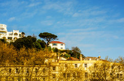 Houses on a cliff hill, on a rock among green plants, an interes Royalty Free Stock Image