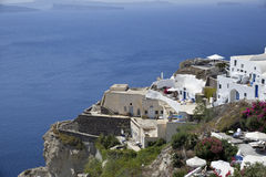 Houses in the cliff at Oia Stock Photography