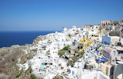 Houses on the cliff at Santorini Stock Photography