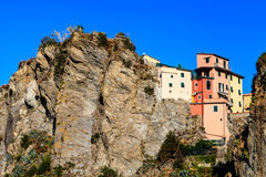 Houses on the Cliff in the Village of Manarola Stock Photography