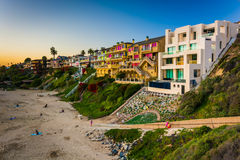 Houses on cliffs above Corona Del Mar State Beach  Royalty Free Stock Photo