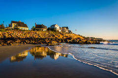 Houses on cliffs overlooking the Atlantic Ocean in York, Maine. Royalty Free Stock Image