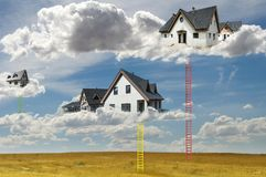 Houses on the clouds and ladders. Abstract concept for smart houses and cloud networks. New build houses stock photos