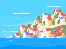 Houses on coast of Greece Stock Images