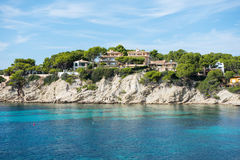 Houses on the coast of Mallorca at sunshine Royalty Free Stock Image